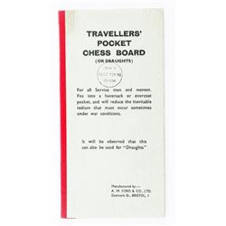 Estate Traveller's Pocket Chessboard by A.W.  Ford and Co. Denmark St. Bristol All Original