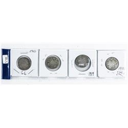 Group (4) Canada Silver 25 Cent: 1910, 1918,  1919, 1934