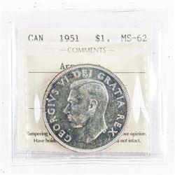 1951Canada Silver Dollar MS62 Arnprior  ScarceÂ
