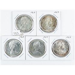 Lot (5) 1867-1967 Silver Dollars