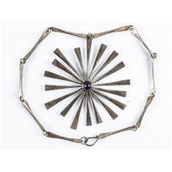 Estate Sterling Silver Necklace, Choker  Length