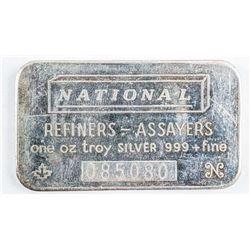 Vintage 'National' .9999 Fine Silver 1oz Bar  Serialized. No Longer Produced