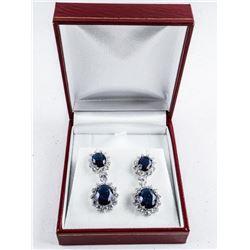 925 Silver 2 Tier Oval Sapphire Blue Cluster  Earrings