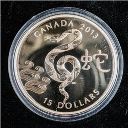 .9999 Fine Silver $15.00 Coin 'Year of the  Snake' 2013 SOLD OUT. 1oz ASW