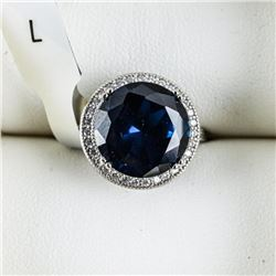 925 Sterling Silver Ring, Round Sapphire Blue  Swarovski Elements. Size 7