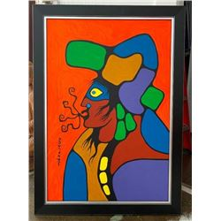 """Norval Morrisseau (1932-2007) """"Shaman Speaks""""  Original Acrylic on Canvas. 42x29.5 Inches.  Provenan"""