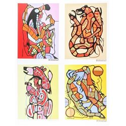 """Norval Morrisseau (1931-2007) 'A Shaman's  Vision' Folio of (4) Images 11x14"""" Matched  Nos. / 50 Sca"""