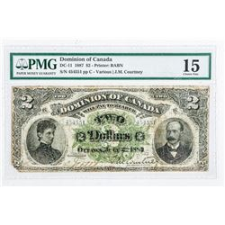 Dominion of CANADA 2.00 Note 1887 - PMG  Collection 15. (SIXR)