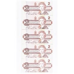 Group of (5) Bank of Canada 1986 2.00 GEM UNC