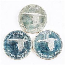 Lot (3) 1867-1967 Canada Silver Dollars.