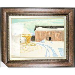 Estate A.J. Casson (1898-1992) and Thoreau  MacDonald Circa 1940's 'Original Oil  Silkscreen' 'Winte