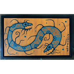 """Norval Morrisseau (1932-2007) """"Spirit of Good  Evil"""" Original Acrylic on Canvas. 17.5x29.5  Inches."""