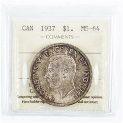 1937 Canada Silver Dollar MS64. ICCS. (MIE)