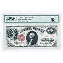 1917 Legal Tender 1.00 FR#39 USA Pmg - 65 GEM  UNC Paper Quality Noted FR39. GEM UNC