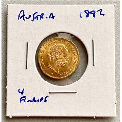 Austria 1892 Gold 4 Florins .900