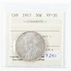 1917 Canada Silver 50 cents. (MKR)