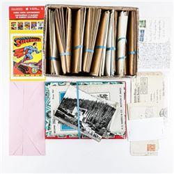 Estate Box Lot - Stamps, Post Cards, Superman  etc
