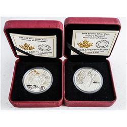 Lot (2) Royalty Coins .999 Fine Silver $10.00  LE