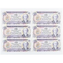 Estate Group (6) Bank of Canada 1971 - 10.00  Choice UNC L/B - BC49c