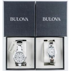 BULOVA Watch Set His and Hers Quartz  Stainless, NEW (MAY NEED BATTERY) MSR 420.00