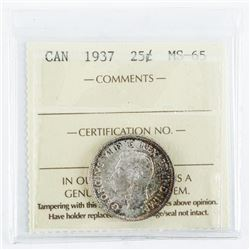 Canada 1937 Silver 25 Cents MS65. ICCS