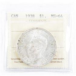 1938 Canada Silver Dollar MS64. ICCS.