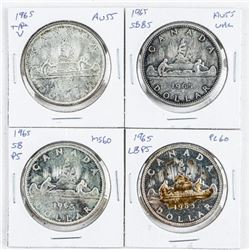 Group (4) Types Canada 1965 Silver Dollars