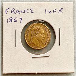 France 1867 10 FR Gold Coin