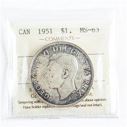 Canada 1951 Silver Dollar MS63. Arnprior