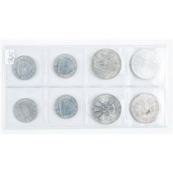 Group of (8) Silver Coins - Austria 10,50 and  60 Shillings. 2.5976 ASW