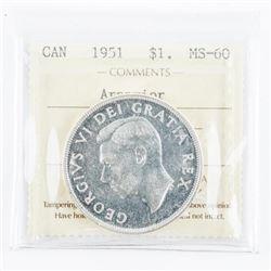 1951 CAD Silver Dollar. Arnprior. MS60. ICCS