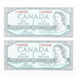 Pair Bank of Canada 1954 1.00 GEM UNC In  Sequence