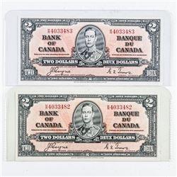 Lot (2) Bank of Canada 1937 2.00 C/T  Consecutive AU-UNC