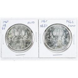 Lot (2) Canada 1965 Types Silver Dollars  (SB/P5) MS62 - AU50 (SB/B5)