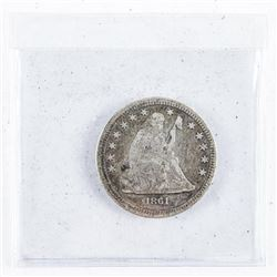 1861 USA Silver 25 Cents F15