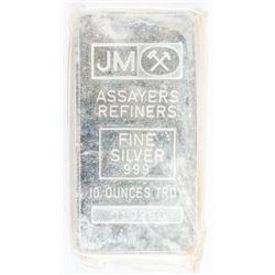 JM Vintage Collector Bullion 10oz .9999 Fine  Silver Bar. Plain Back. Serialized