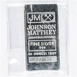Johnson Matthey - JM Vintage Collector  Bullion 10 oz Bar, Serialized JM Logos - No  Longer Produced