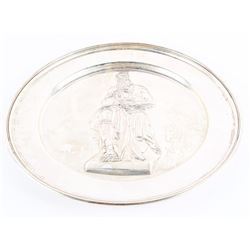 Estate Solid Sterling Silver Plate, 'MOSES'  By Michelangelo. 377 grams.