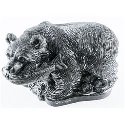 Grizzly Bear with Fish Sculpture