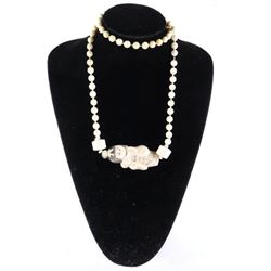 """Estate Handmade Bead necklace with Carved  Oriental Girl 30"""" (EXR)"""