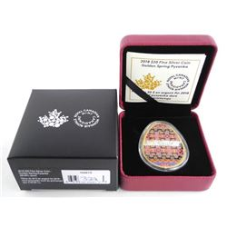 2018 .9999 Fine Silver $20.00 Coin  'Golden  Spring Pysanka' SOLD OUT Low Mintage.   LE/C.O.A.