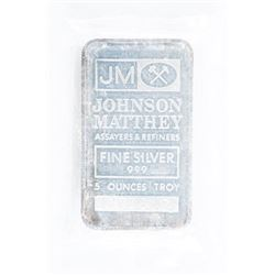 Vintage 'JM' Bullion .9999 Fine Silver 5oz  Bar