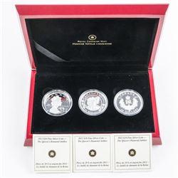 RCM 2012 Queen's Diamond Jubilee 3 x 20.00  Coin Set .9999 Fine Silver with Case. C.O.A.  (kxr)