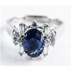 Ladies 9kt White Gold Cocktail Ring, 1.25ct  Blue Sapphire and 8 Diamonds. VS- F-G  Appraised: $3650