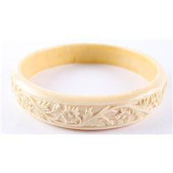 Estate Hand Carved Bangle Bracelet