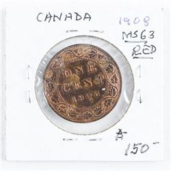 Canada 1908 Large Cent MS63 Red