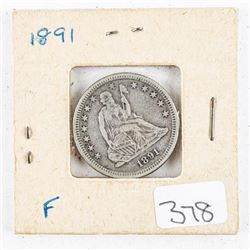 1891 USA Silver 25 Cents F