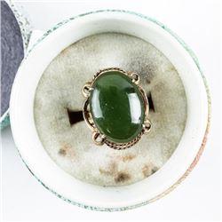 Estate 14kt Gold Jade Ring 4.60 grams