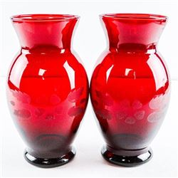 Estate - Pair Ruby Glass Vases