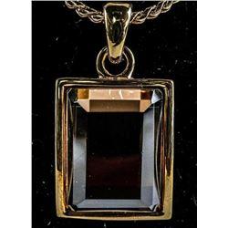 Gold Plated Smokey Quartz Necklace